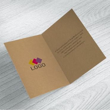 Kartki świąteczne biznesowe na wielkanoc - wnętrze z logo po lewej stronie.