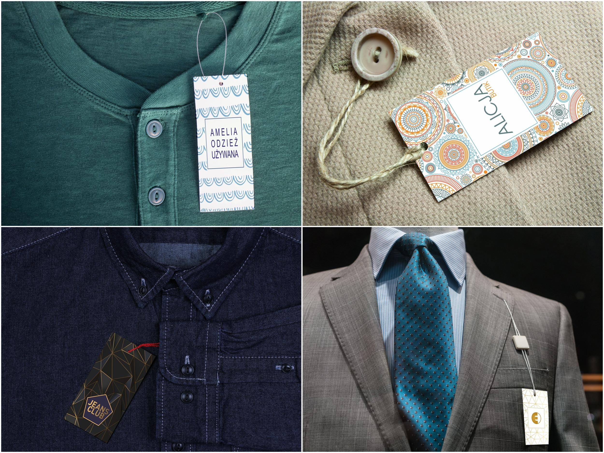 Metki etykiety odzieżowe standard